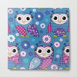 Cute Boho Owl Pattern Metal Print