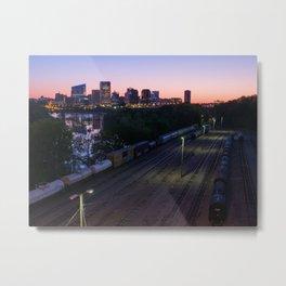 City Sunrise Over The Trainyard Metal Print