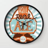 ale giorgini Wall Clocks featuring All Hail Real Ale by Kerry Hyndman