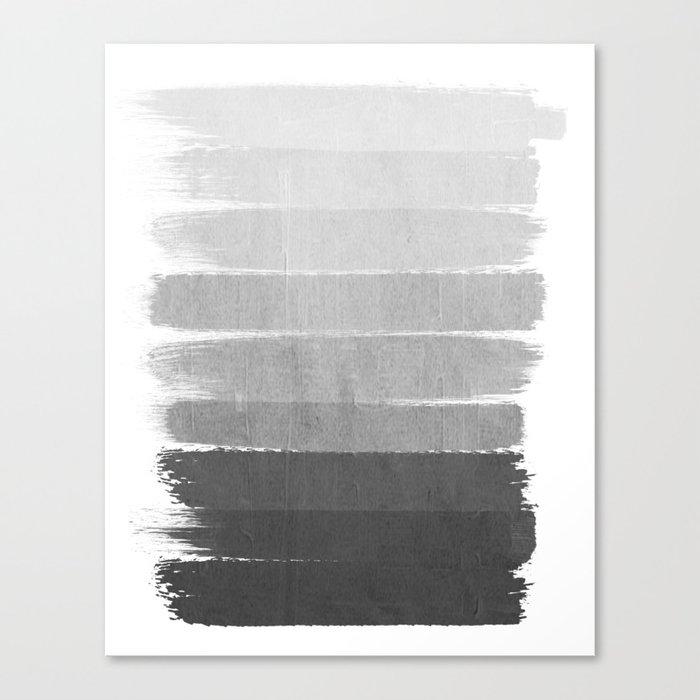 Brushstroke - Ombre Grey, Charcoal, minimal, Monochrome, black and white, trendy,  painterly art  Leinwanddruck