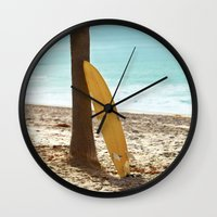 surfboard Wall Clocks featuring Surfboard by Sherman Photography