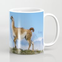 chile Mugs featuring A Guanoco, in Patagonia, Chile. by davehare