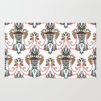 baroque Area & Throw Rugs featuring Bird Baroque by Deborah Panesar Illustration