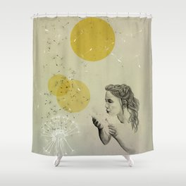 girl with dandelion Shower Curtain