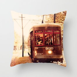 St Charles Street Car - New Orleans Throw Pillow