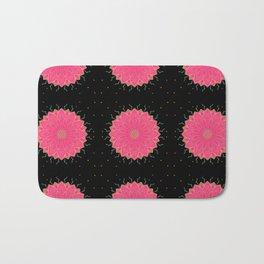 Project 520   Pink Flowers on Black Bath Mat