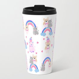 corgi and kitty over the rainbow Travel Mug