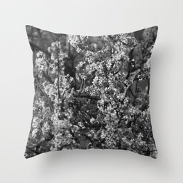 Black And White Pear Tree Blooming Throw Pillow