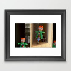 Guys riding tricycles Framed Art Print