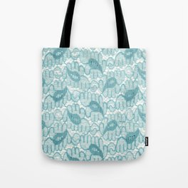 Lace in Cyan with a Paisley Print Tote Bag