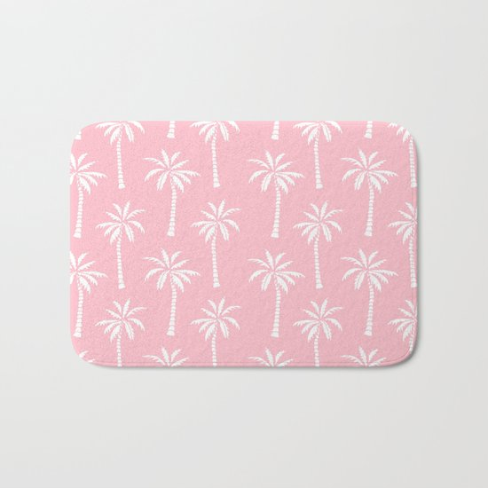 Palm trees pink tropical minimal ocean seaside socal beach life pattern print Bath Mat