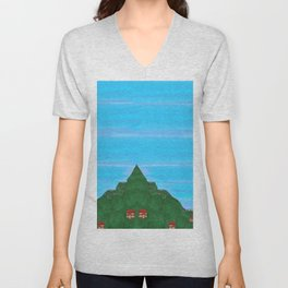 Houses on Green Mountainsides Unisex V-Neck