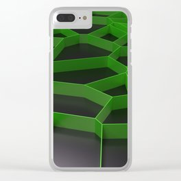 Green voronoi grate on black background Clear iPhone Case