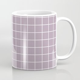 Lilac Luster - violet color -  White Lines Grid Pattern Coffee Mug
