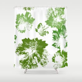 Green leaves stamp Shower Curtain