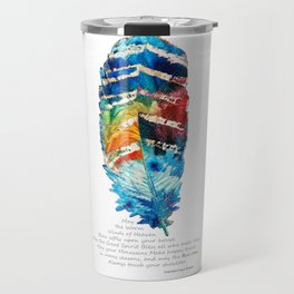 Colorful Feather Art -  Blessing - By Sharon Cummings Travel Mug