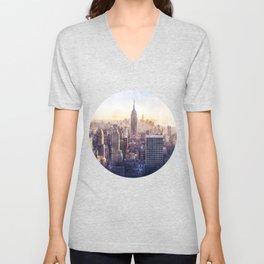 New York City Watercolor Skyline Unisex V-Neck