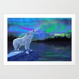 Arctic Prayer - White Wolf and Aurora Art Print