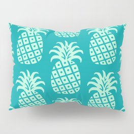 Retro Mid Century Modern Pineapple Pattern Mint Green and Teal 2 Pillow Sham