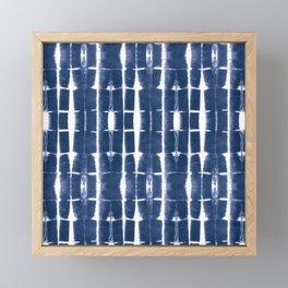 Shibori Stripes 3 Indigo Blue Framed Mini Art Print