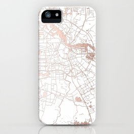 Amsterdam White on Rosegold Street Map iPhone Case