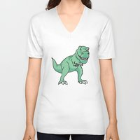 t rex V-neck T-shirts featuring T-rex by Cat Milchard