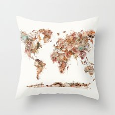 world map watercolour Throw Pillow