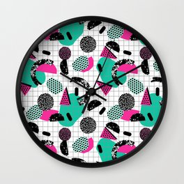 Cha Ching - abstract throwback memphis retro 80s 90s pop art grid shapes Wall Clock