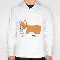 corgi Hoodies featuring Corgi by Leslie Pierrot