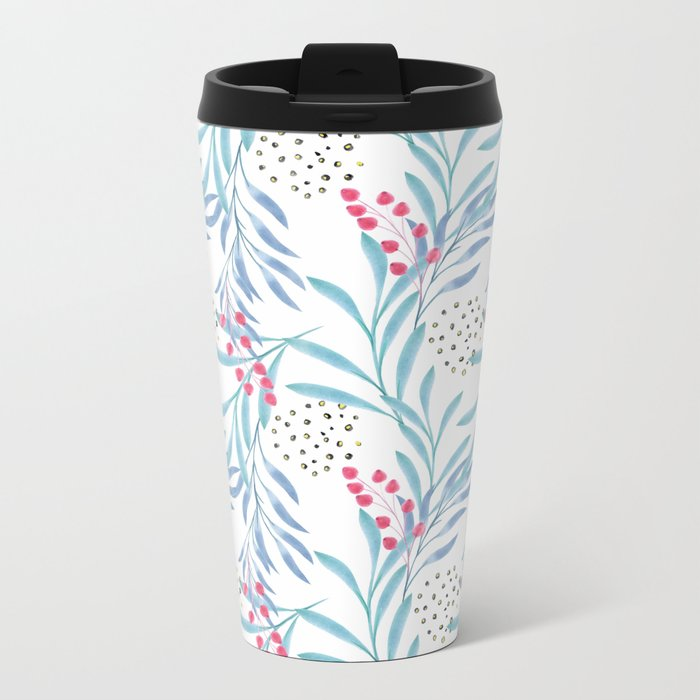 Delicate sprigs 3 Metal Travel Mug