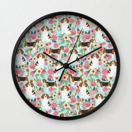 Beagle Floral dog design cute florals beagle phone case beagle pillows Wall Clock