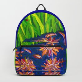 Flowers Float by Ladybug Grass Backpack