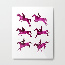 Watercolor Showjumping Horses (Magenta) Metal Print