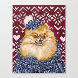 Pomeranian in a Hat and Scarf Canvas Print
