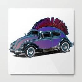 Punk Beetle Mohican Metal Print