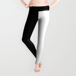 Abstract Black and White Vertical Color Block Leggings