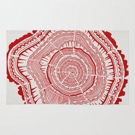 Red Tree Rings Rug