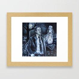 H.P.Lovecraft in Cemetery Framed Art Print