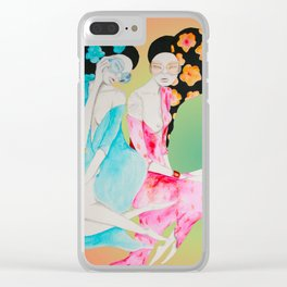 Fashionistas on pastel Clear iPhone Case