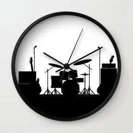 Rock Band Equipment Silhouette Wall Clock