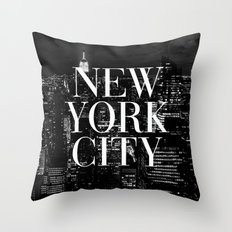 New York City Vogue Typography Manhattan Skyline Throw Pillow