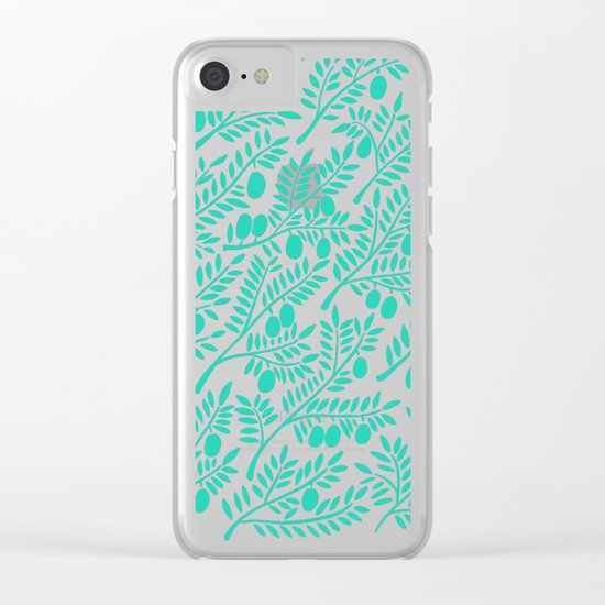 Turquoise Olive Branches Clear iPhone Case