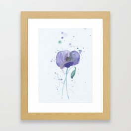 Blue Poppy flower illustration painting in watercolor Framed Art Print