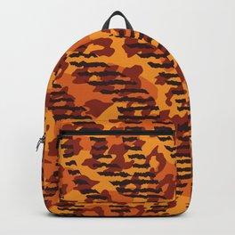 Orange brown yellow abstract safari animal print Backpack