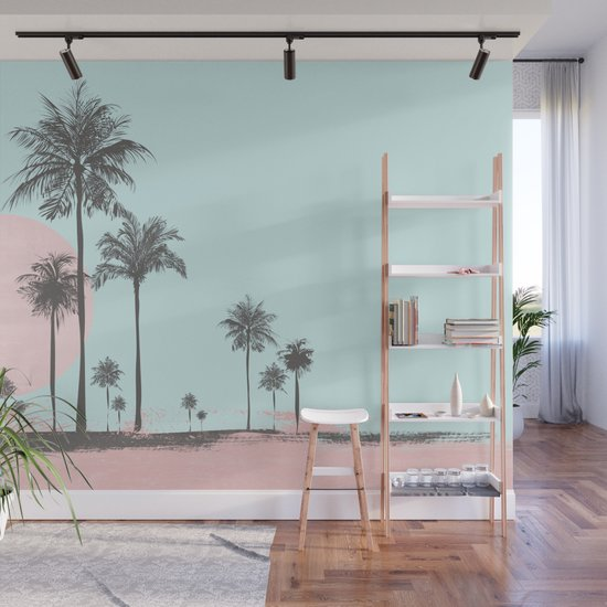 Beachfront palm tree soft pastel sunset graphic by lebensart