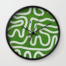 Green Speed Racers Wall Clock