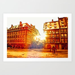 in front of Cathedrale Notre-Dame Art Print