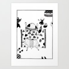 Pug teaparty Art Print