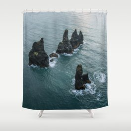 Sea stacks on the Icelandic Coast near Vik - Landscape Photography Shower Curtain