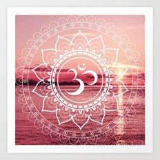 Water Om Mandala : Rose Pink Art Print